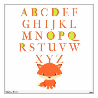 Large, Adorable Fox ABCs Wall Decal