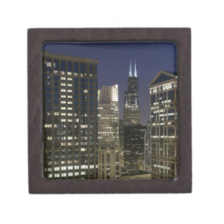 Large aerial view of downtown Chicago at dusk. Gift Box