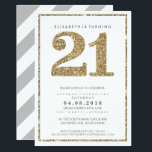 """LARGE AGE NUMBER INVITE modern 21 gold glitter<br><div class=""""desc"""">NOTE - the gold glitter look is a printed picture. A super simple, yet stylish invitation design for your BIRTHDAY. Wow your friends and family with this little number ;D Setup as a template it is simple for you to add your own details, or hit the customize button and you...</div>"""