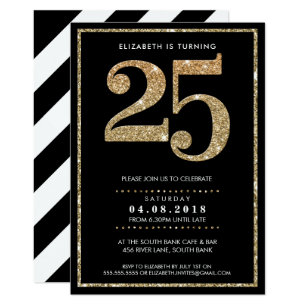25th Birthday Invitations Zazzle