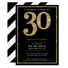 30th birthday invitations announcements zazzle large age number invite modern 30 gold glitter filmwisefo Images
