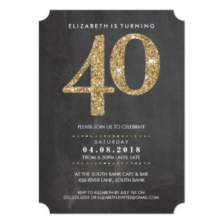 LARGE AGE NUMBER INVITE modern 40 gold glitter