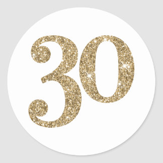 LARGE AGE NUMBER modern 30 gold glitter Classic Round Sticker