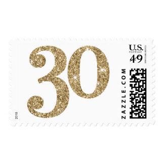 LARGE AGE NUMBER modern 30 gold glitter Postage