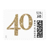 LARGE AGE NUMBER modern 40 gold glitter Postage