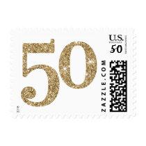 LARGE AGE NUMBER modern 50 gold glitter Postage
