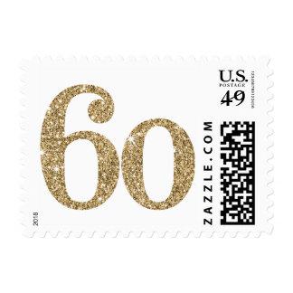 LARGE AGE NUMBER modern 60 gold glitter Postage