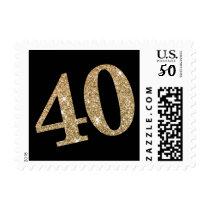 LARGE AGE NUMBER modern glam 40 gold glitter black Postage