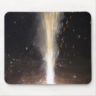 Large amount of sparks from a firecracker mouse pad