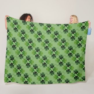 Large and Lucky Four-Leaf Clover Fleece Blanket