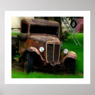 Large Antique Truck Poster - Vintage Vehicle