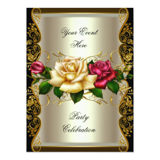 LARGE Any Event Party Cream Gold Black Roses Card