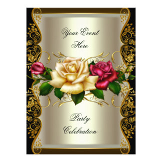 LARGE Any Event Party Cream Gold Black Roses Personalized Invite