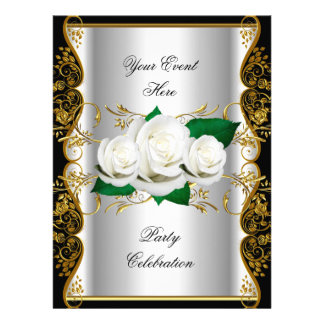 LARGE Any Event Party Gold Black White Roses Custom Announcements