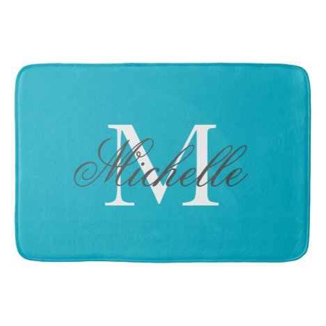 Large aqua turquoise blue name monogram bath mat