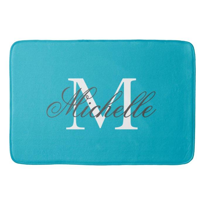 Large Aqua Turquoise Blue Name Monogram Bath Mat Zazzle