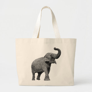 LARGE ASIAN ELEPHANT - INDIAN ELEPHANT CANVAS BAG