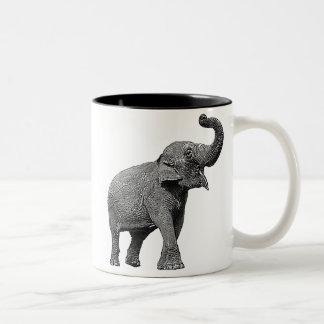 LARGE ASIAN ELEPHANT - INDIAN ELEPHANT Two-Tone COFFEE MUG