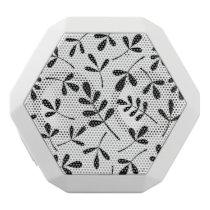 Large Assorted Black Leaves on White Pattern White Bluetooth Speaker