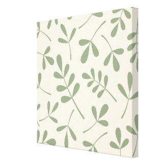 Large Assorted Green Leaves on Cream Design Canvas Print