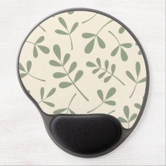 Large Assorted Green Leaves on Cream Design Gel Mouse Pad