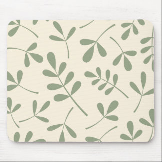 Large Assorted Green Leaves on Cream Design Mouse Pad
