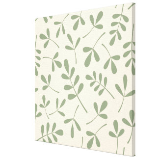 Large Assorted Green Leaves on Cream Pattern Canvas Print