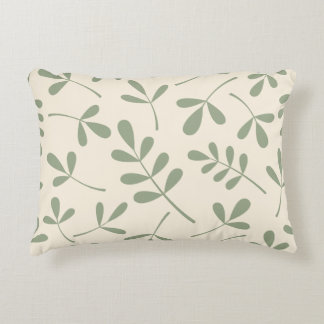 Large Assorted Green Leaves on Cream Pattern Decorative Pillow