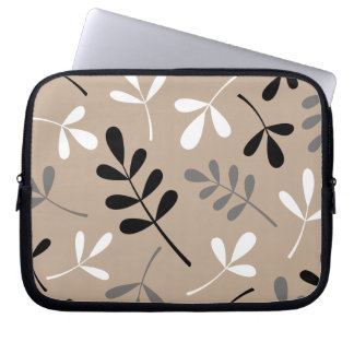 Large Assorted Leaves Black Grey White Sand Laptop Sleeve