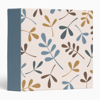 Large Assorted Leaves Blues Brown Gold Cream Binder
