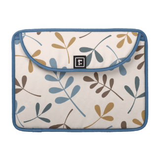 Large Assorted Leaves Blues Brown Gold Cream MacBook Pro Sleeve