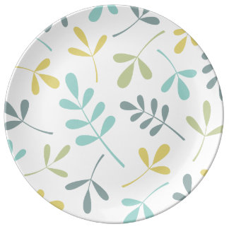 Large Assorted Leaves Color Mix on White Dinner Plate