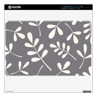 Large Assorted Leaves Cream on Grey Decal For MacBook