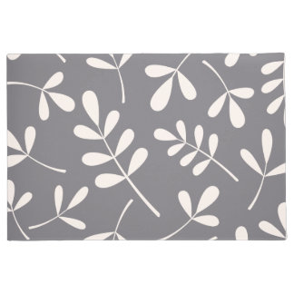 Large Assorted Leaves Cream on Grey Doormat