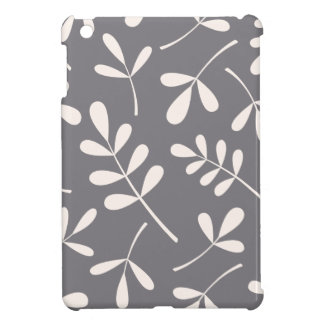 Large Assorted Leaves Cream on Grey iPad Mini Covers