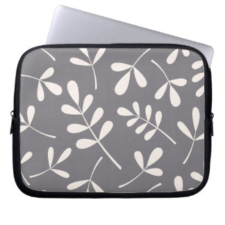 Large Assorted Leaves Cream on Grey Laptop Sleeve
