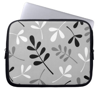 Large Assorted Leaves Monochrome Design Computer Sleeve