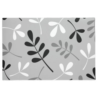 Large Assorted Leaves Monochrome Design Doormat