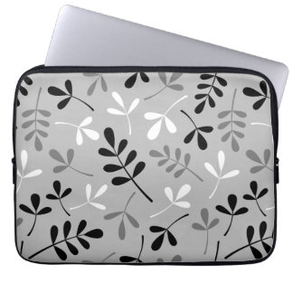 Large Assorted Leaves Monochrome Design Laptop Sleeve
