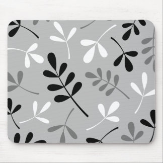 Large Assorted Leaves Monochrome Design Mouse Pad