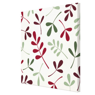 Large Assorted Leaves Reds & Greens on Cream Canvas Print