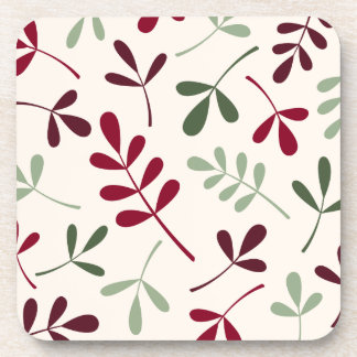 Large Assorted Leaves Reds & Greens on Cream Drink Coaster