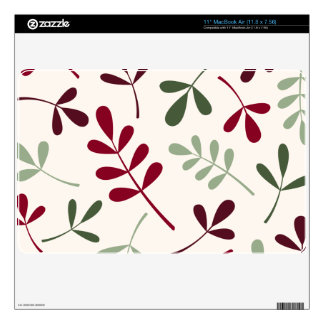 Large Assorted Leaves Reds & Greens on Cream MacBook Air Skins