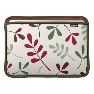 Large Assorted Leaves Reds & Greens on Cream Sleeve For MacBook Air
