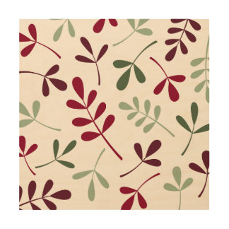 Large Assorted Leaves Reds & Greens on Cream Wood Print