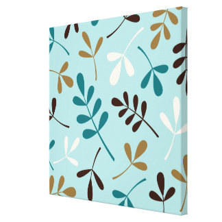Large Assorted Leaves Teals Cream Gold Brown Canvas Print