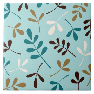 Large Assorted Leaves Teals Cream Gold Brown Ceramic Tile