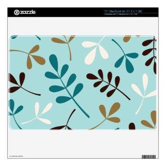 Large Assorted Leaves Teals Cream Gold Brown Skins For The MacBook Air