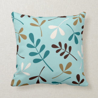 Large Assorted Leaves Teals Cream Gold Brown Throw Pillow