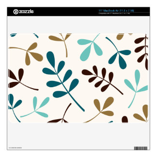 Large Assorted Leaves Teals Gold Brown on Cream Decal For The MacBook Air